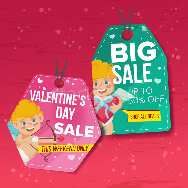 Valentine s Day Theme Sale Tags Vector. Flat Paper Hanging Love Stickers. Cupid. February 14 Discoun Stock photo © pikepicture
