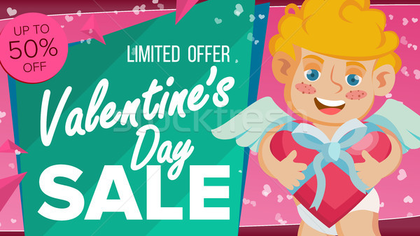 Valentine s Day Sale Banner Vector. Happy Cupid, Template Design For February 14 Poster, Brochure, C Stock photo © pikepicture