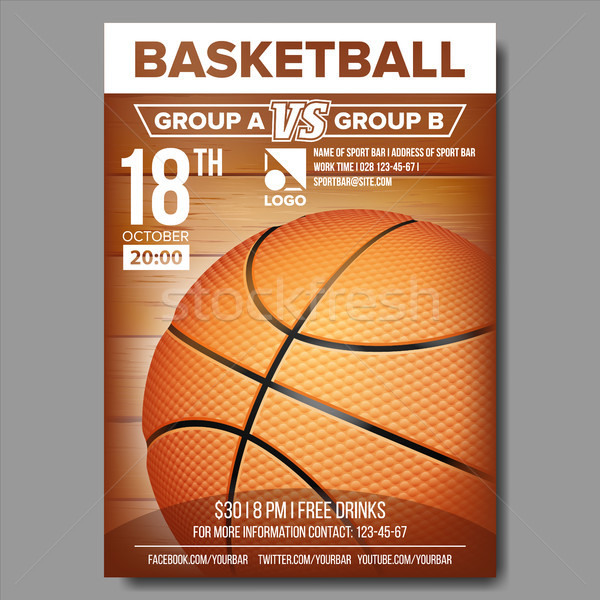 Basketball Poster Vector. Sport Event Announcement. Banner Advertising. Professional League. Event I Stock photo © pikepicture