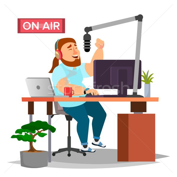 Radio DJ Vector. Modern Radio Station. Studio. On Air. Broadcasting. Isolated Flat Cartoon Illustrat Stock photo © pikepicture