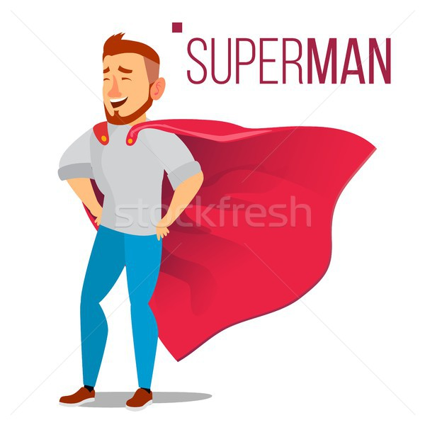 Superhero Businessman Character Vector. Red Cape. Successful Business Man Standing. Leadership Conce Stock photo © pikepicture