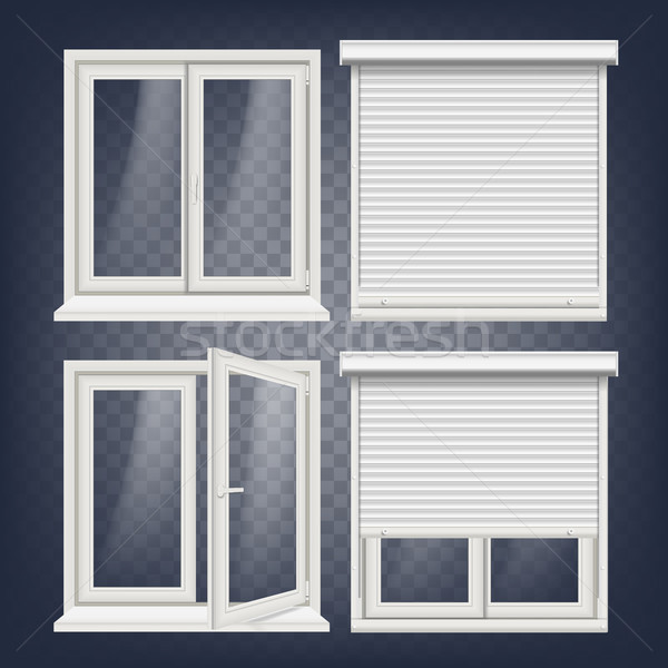 Stock photo: Plastic Window Vector. White Metallic Roller Shutter. PVC Windows. Plastic White Window Frame. Isola
