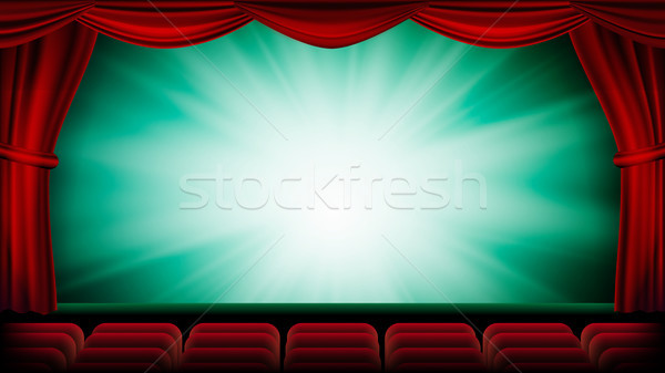 Theater Curtain Vector. Theater, Opera Or Cinema Scene. Green Background. Banner, Placard, Poster De Stock photo © pikepicture