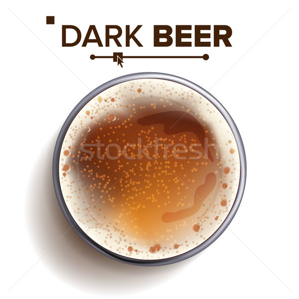 Beer Glass Top View Vector. Drink In A Glass. Alcohol Drink Realistic Isolated Illustration Stock photo © pikepicture