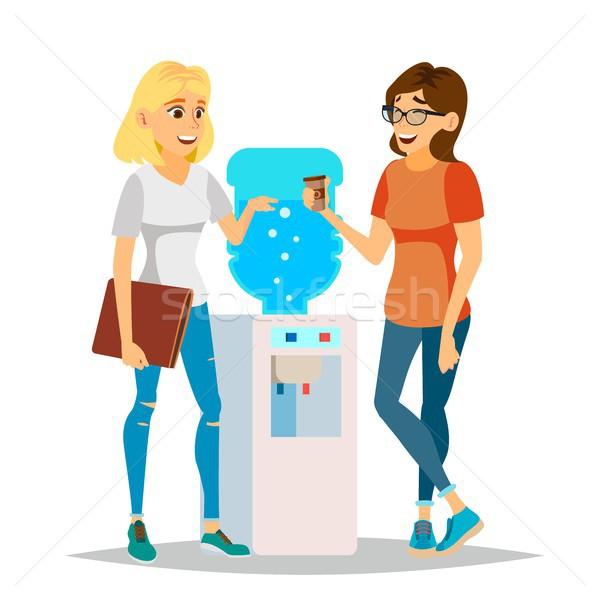 Water Cooler Gossip Vector. Modern Office Water Cooler. Laughing Friends, Office Colleagues Women Ta Stock photo © pikepicture