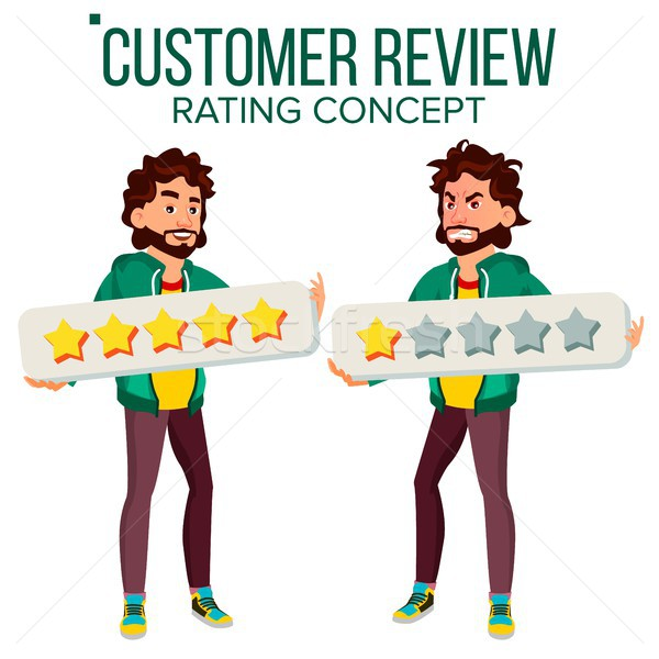 Customer Review Vector. Happy And Unhappy Man User. Positive, Negative Review. Testimonials Messages Stock photo © pikepicture