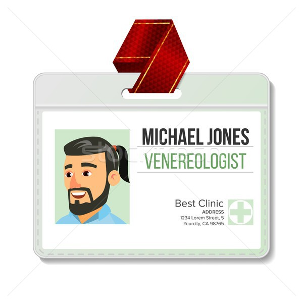 Venereologist Identification Badge Vector. Man. Id Card Template. Clinic. Hospital. Specialist Profi Stock photo © pikepicture