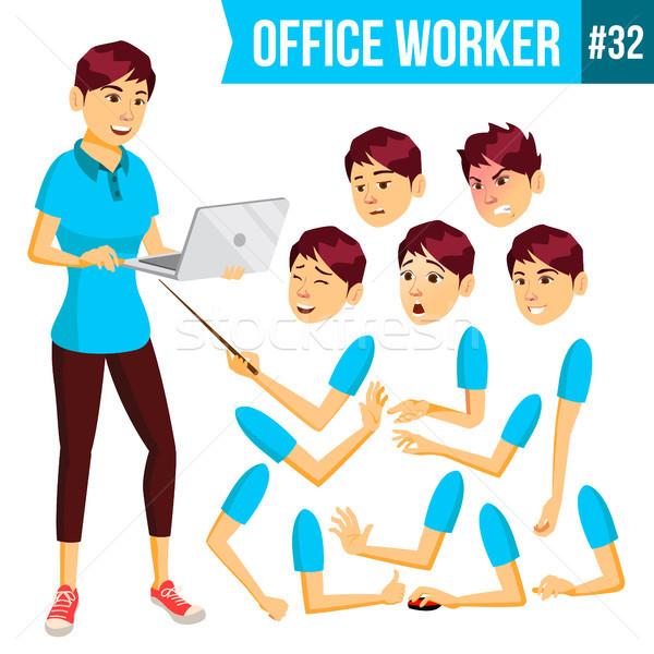 Trabalhador de escritório vetor mulher feliz servente empregado Foto stock © pikepicture