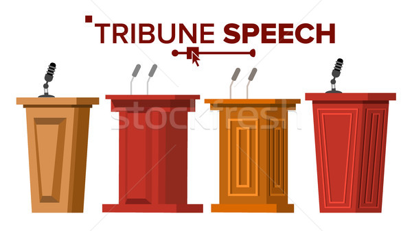 Tribune Set Vector. Podium Rostrum Stand With Microphones. Business Presentation Or Conference, Deba Stock photo © pikepicture