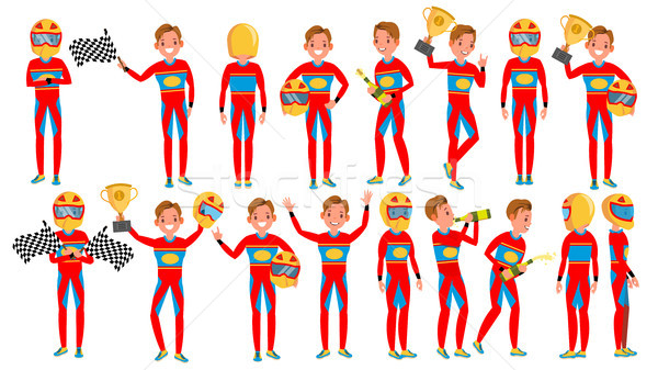 Stock photo: Sport Car Racer Man Male Vector. Turbo Rally. Poses. Modern Driver. Cartoon Athlete Character Illust