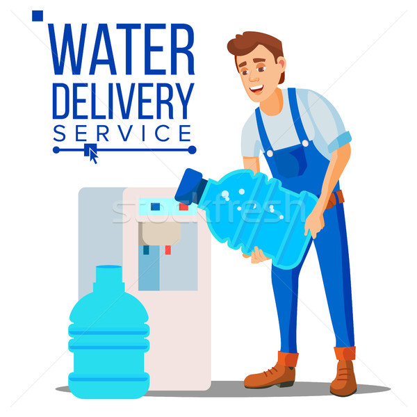 Water Delivery Service Man Vector. Company. Plastic Bottle. Supply, Shipping. Isolated Flat Cartoon  Stock photo © pikepicture