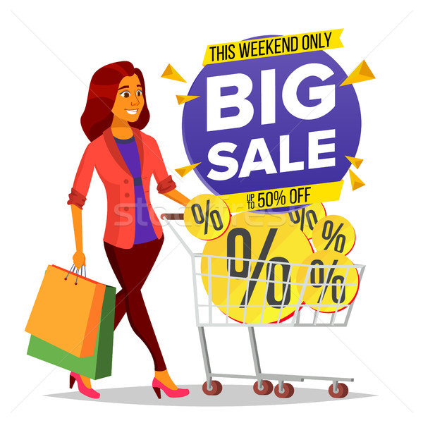 Shopping Woman Vector. Grocery Cart. Big Sale. Groceries In Shop, Supermarket. Holding Paper Package Stock photo © pikepicture