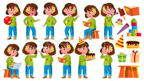 Girl Kindergarten Kid Poses Set Vector. Little Child. Funny Toy. Lifestyle. For Advertising, Placard Stock photo © pikepicture