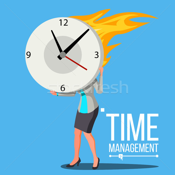 Time Management Woman Vector. Free Time. Control. Management. Business Illustration Stock photo © pikepicture