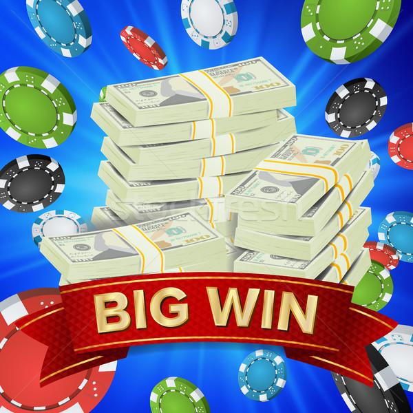 Big Winner Poster Vector. You Win. Gambling Poker Chips. Dollars Money Banknotes Stacks Illustration Stock photo © pikepicture