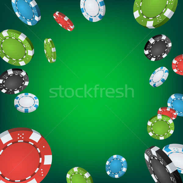 Stock photo: Casino Winner Background. Falling Explosion Gambling Poker Chips Illustration. Jackpot Prize Design