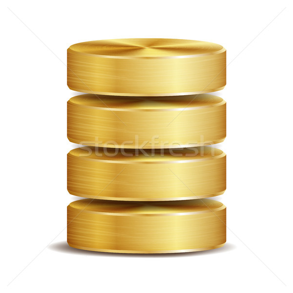 Netwerk database schijf icon vector realistisch Stockfoto © pikepicture