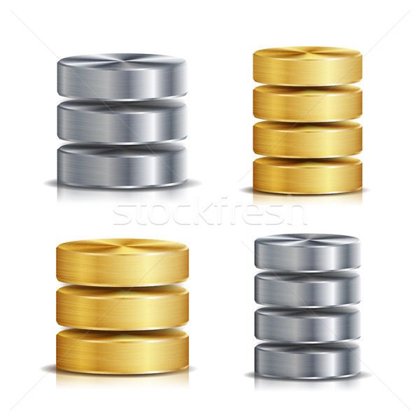 Network Database Disc Icon Vector Set Stock photo © pikepicture