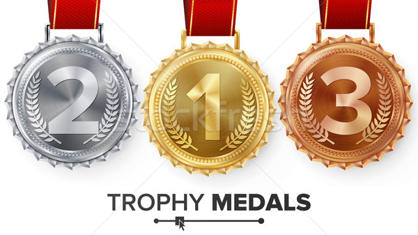 Winner Gold, Silver, Bronze Medals Set Vector. Metal Realistic Badge With First, Second, Third Place Stock photo © pikepicture