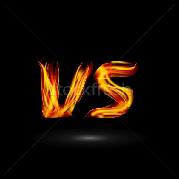 Versus Vector. Flame Letters Fight Background Design. Competition Icon. Fight Symbol Stock photo © pikepicture