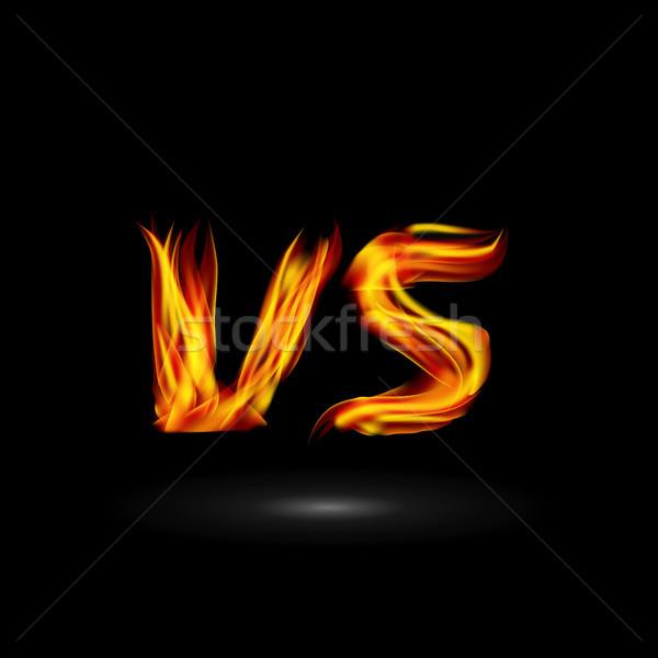 вектора пламени письма борьбе дизайна конкуренция Сток-фото © pikepicture