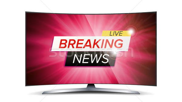 Breaking News Live Vector. Red TV Screen. Technology News Concept. Isolated Illustration Stock photo © pikepicture