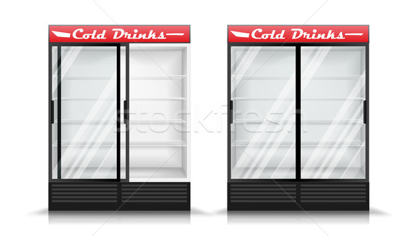 Refrigerator Realistic Vector. Modern vertical Fridge. Front Panel. Two Glass Sliding Doors. Isolate Stock photo © pikepicture