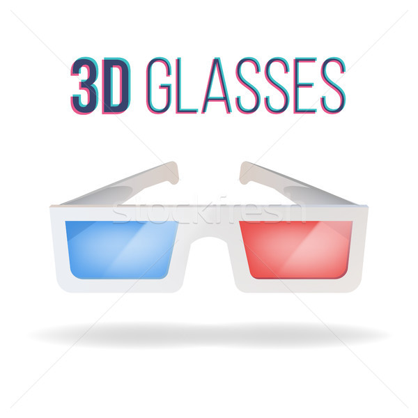 Realistic 3d Glasses Vector. Red, Blue. Paper Cinema 3d Glasses. Isolated On White Background Illust Stock photo © pikepicture