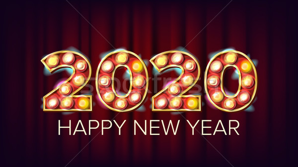 2020 Happy New Year Vector. Marquee Light Background Decoration. Greeting Card Design. 2020 Light Si Stock photo © pikepicture