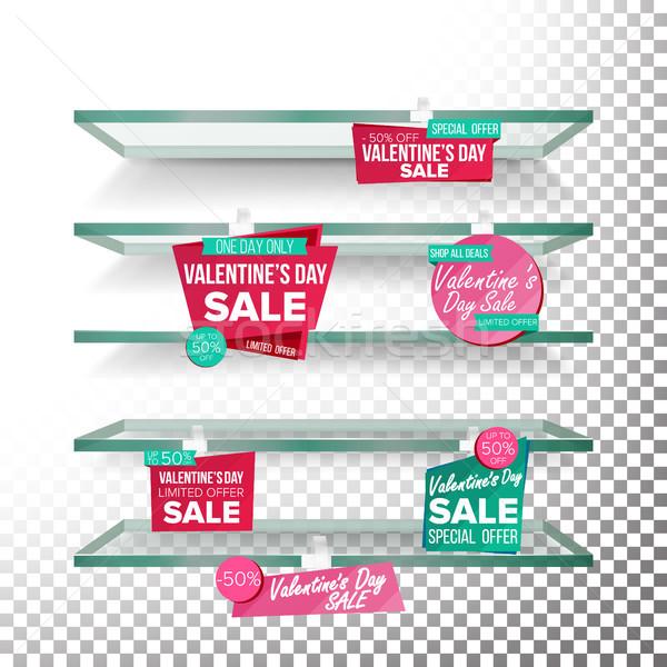 Empty Supermarket Shelves, Valentine s Day Sale Wobblers Vector. Price Tag Labels. Big Sale Banner.  Stock photo © pikepicture