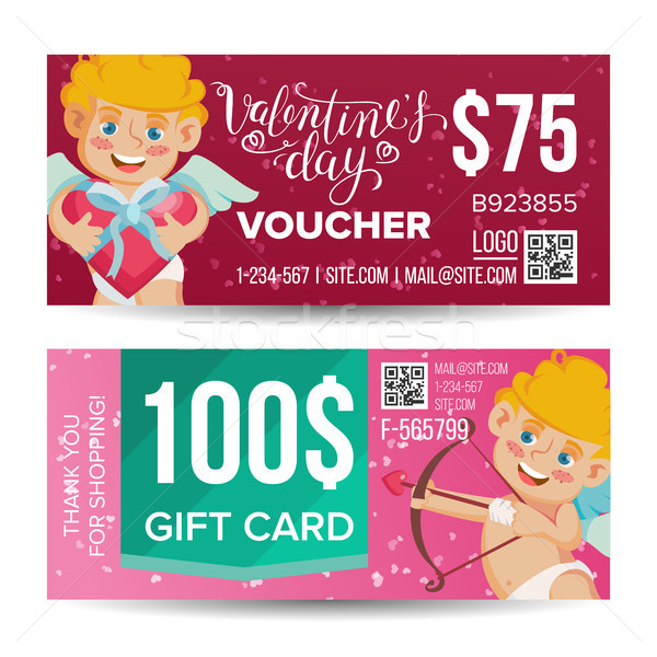 Valentine s Day Voucher Design Vector. Horizontal Discount. February 14. Valentine Cupid And Gifts.  Stock photo © pikepicture