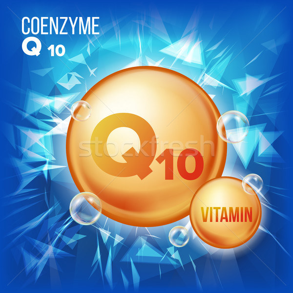 Vitamin Q10 Coenzyme Vector. Organic Vitamin Gold Pill Icon. Medicine Capsule, Golden Substance. For Stock photo © pikepicture