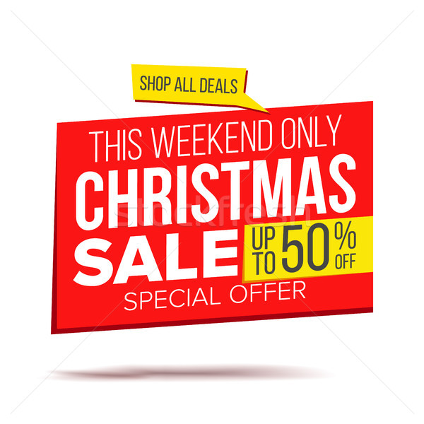 Biggest Christmas Sale Banner Vector. Sale background. Isolated On White Illustration Stock photo © pikepicture