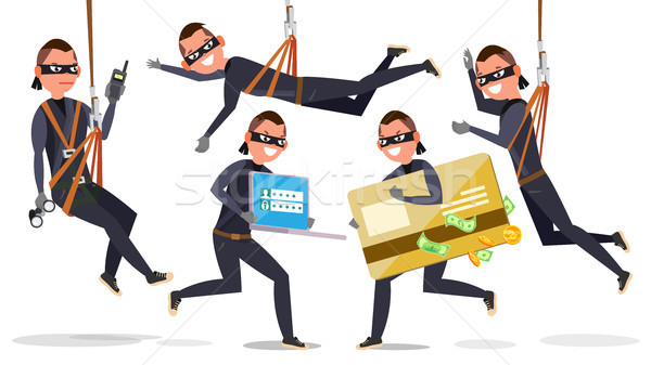 Thief, Hacker Man Set Vector. Stealing Credit Card Information, Personal Data, Money. Fishing Attack Stock photo © pikepicture