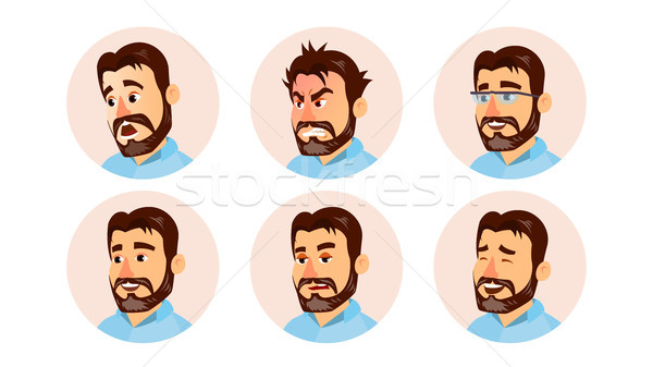 Boss Character Business People Avatar Vector. Modern Office Bearded Boss Man Face, Emotions Set. Cre Stock photo © pikepicture
