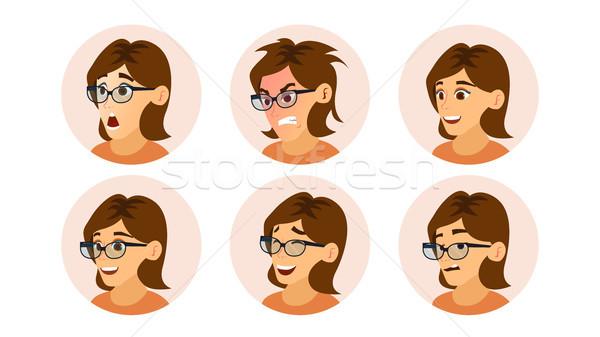 üzletasszony avatar vektor női arc érzelmek szett Stock fotó © pikepicture