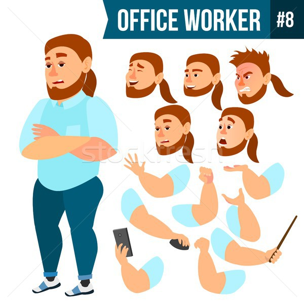 Stock photo: Office Worker Vector. Face Emotions, Various Gestures. Animation Creation Set. Business Person. Care