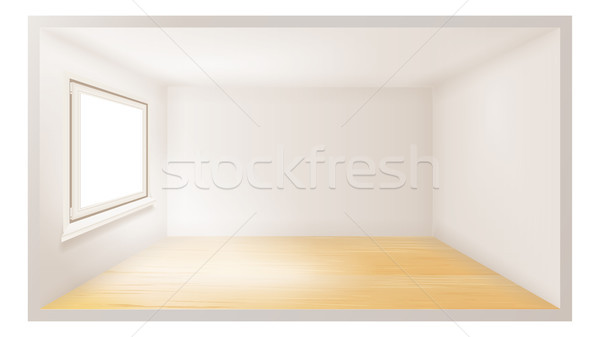 Empty Room Vector. White Wall. Plastic Window. Architecture Apartment. 3d Realistic Illustration Stock photo © pikepicture