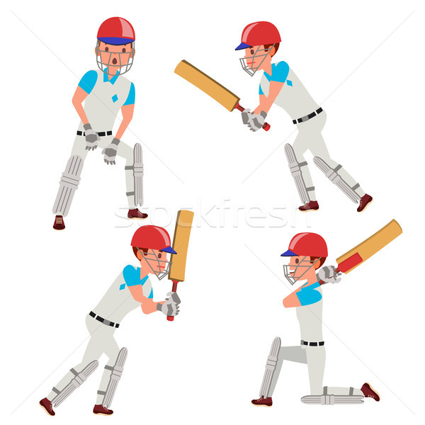 Cricket Player Male Vector. Cricket Team Characters. Flat Cartoon Illustration Stock photo © pikepicture