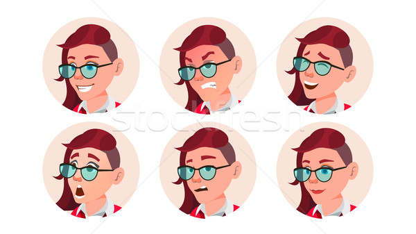 Woman Avatar People Vector. Facial Emotions. Emo, Freak Hairstyle. Pink. User Person. Beauty Lady. H Stock photo © pikepicture