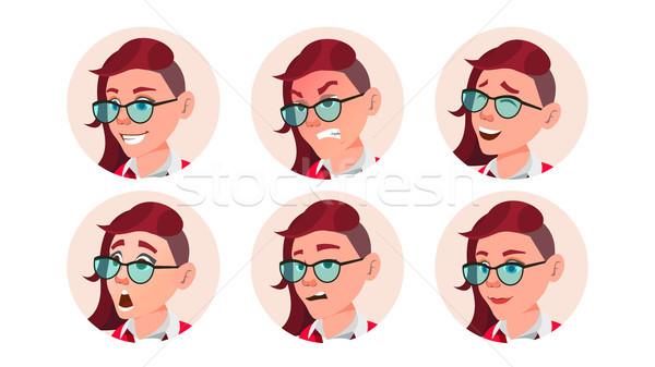 Nő avatar emberek vektor érzelmek hajviselet Stock fotó © pikepicture
