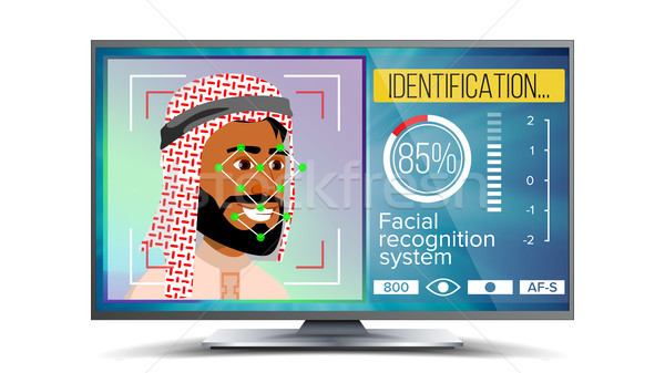 Face Recognition, Identification System Vector. Face Recognition Technology. Arab Face On Screen. Hu Stock photo © pikepicture