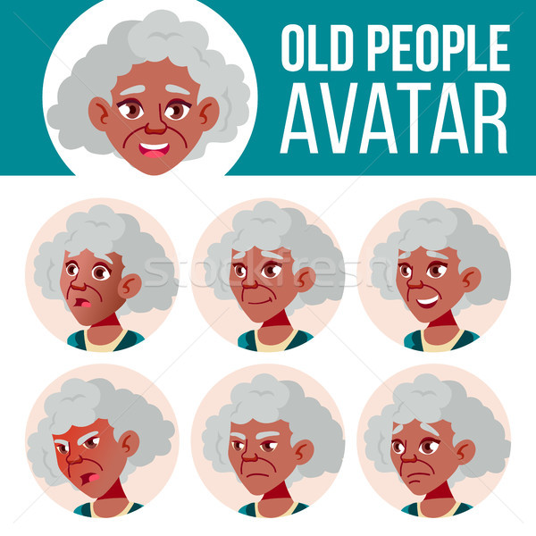 Old Woman Avatar Set Vector. Black. Afro American. Face Emotions. Senior Person Portrait. Elderly Pe Stock photo © pikepicture