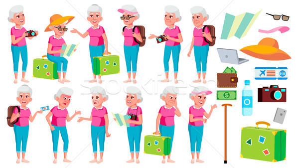 Old Woman Poses Set Vector. Elderly People. Senior Person. Aged. Tourist, Tourism. Beautiful Retiree Stock photo © pikepicture