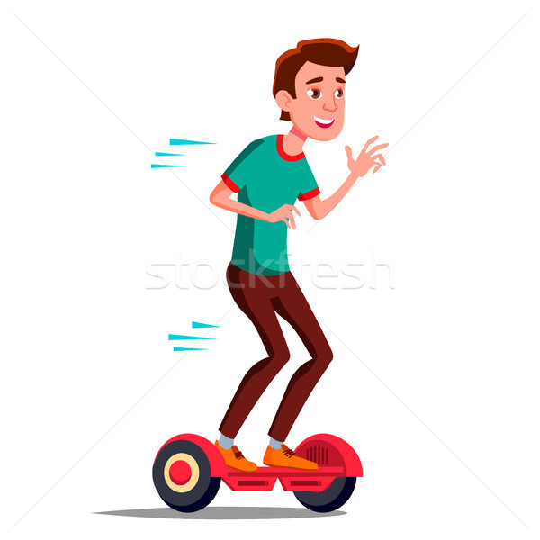 Teen Boy On Hoverboard Vector. Riding On Gyro Scooter. Outdoor Activity. Two-Wheel Electric Self-Bal Stock photo © pikepicture