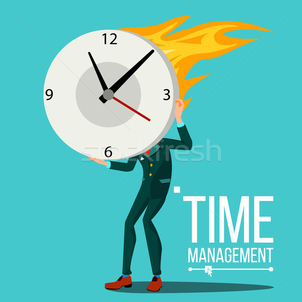 Time Management Man Vector. Organization Of Work Process. Free Time. Business Illustration Stock photo © pikepicture
