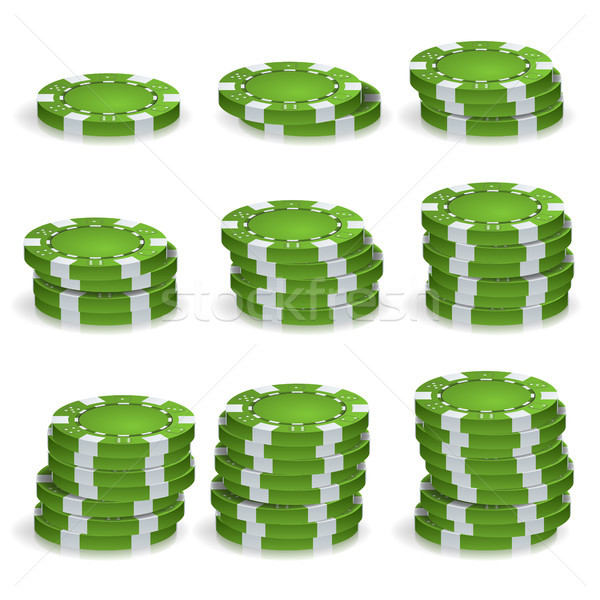 Green Poker Chips Stacks Vector. Realistic Set. Poker Game Chips Sign Isolated On White Background.  Stock photo © pikepicture