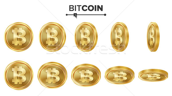 Bitcoin 3D monede de aur vector set realist Imagine de stoc © pikepicture