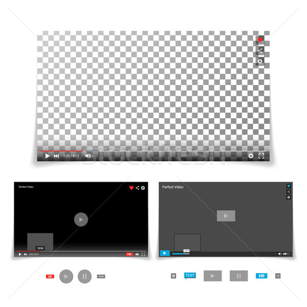 Video Player Interface Template Vector. With Progress Bar And Control Buttons Full Screen, Volume, T Stock photo © pikepicture