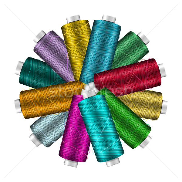 Thread Spool Banner Circle Border. Place For Text. Stock Vector Illustration Of Yarn Or Cotton Bobbi Stock photo © pikepicture
